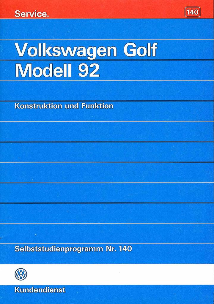 Ssp140 Vw Golf Modell 1992 Pdf  16 3 Mb